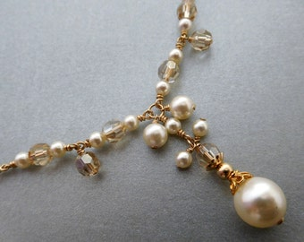 Gold ivory pearl necklace, golden crystal, pearl strand dangles and drop, 12k Gold Fill. Dainty necklace, classic yet unique bridal jewelry