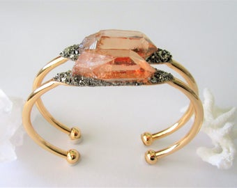 Bohemian Jewelry/ Boho Cuff Bracelet / Raw Crystal and Pyrite Minerals / Crystal Mineral Jewelry / Tangerine Aura Quartz