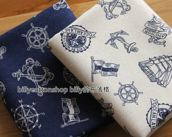 m106_55 - Sailing Ships fabrics - cotton  linen fabrics ( 2 color to choose) in Half Yard