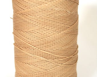 whole spool, 500m, macrame cord, waxed polyester cord, beige, 0.8 mm. flat braid, jewelry making, friendship bracelet, waxed nylon,