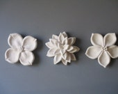 Custom Order Michelle -Set of Six Flower Blooms Wall hanging, ceramic floral decor, lily art, flower blooms, ceramic flower
