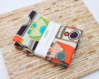 Large Cloth Napkins - Set of 4 - (N5259) - Retro Inspired Camera Reusable Fabric Napkins