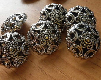 """12 Silver Flower and Rainbow Medium Shank Buttons Size 13/16"""""""