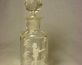 c1890s Mary Gregory Applied Enamel Sillouette Decor Cork Top Blown Glass Perfume Cologne Bottle with Glass Stopper