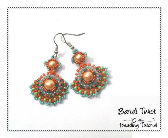 Beading Pattern, Fan Shape Small Earrings Beading Instructions, DIY Beaded Jewelry Earrings Beading Tutorial, Right Angle Weave BARIDI TWIST