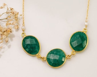 40 OFF - Green Emerald Necklace - May Birthstone Necklace - Bezel Gemstone Connecters - Gold Necklace - Gift For Her