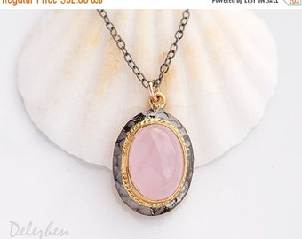 40 OFF - Pink Chalcedony Necklace - Mixed Metal Necklace - Antique style Necklace - Gold and Black Jewelry - Pink Pendant