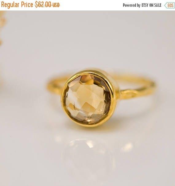 Yellow Citrine Ring Gold, November Birthstone Ring, Solitaire Ring, Stacking Ring, Gold Ring, Round Ring, Stackable Stone Ring, Unique Ring