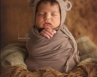 Alpaca Newborn Bonnet,Alpaca Knit Bonnet,Knit Baby Bonnet,Newborn Bear Bonnet,Newborn Photography Prop,Photo Prop,Knit Bonnet,Bear Bonnet
