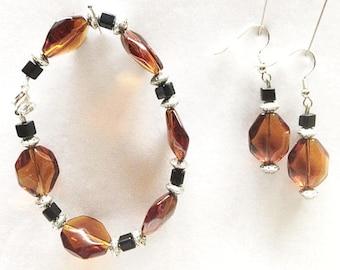 Amber Earrings, Amber Jewelry, Amber Bracelet, Brown Earrings, Brown Bracelet, Brown Jewelry, Chunky Bracelet, Chunky Earrings, Earrings