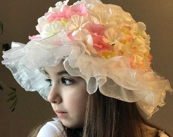 Floral Ruffle Delight - Ready to Ship - Easter, Derby, Spring, Tea party hat for toddlers