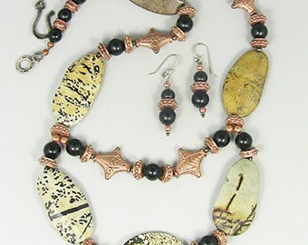 Tribal Necklace Set, Semiprecious stone necklace set, Picture Jasper with Jet and Copper