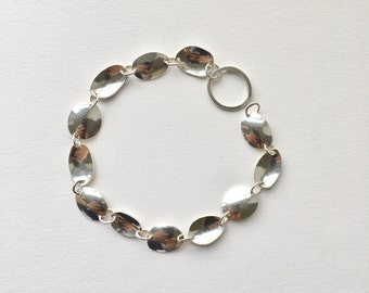 Handmade sterling silver chain bracelet with easy clasp - Fishing spinner lure inspired chain - convex concave oval chain with Olga clasp