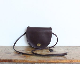Vintage Coach Bag // Leather Crossbody Made in NYC // Mini Messenger Brown Purse New York City
