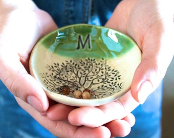 """MADE TO ORDER.... 4 1/2"""" Personalized Ring Dish, Ceramic, Handmade Pottery, by RiverStone Pottery"""