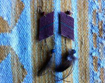 Mexican Blanket Feather Earrings- Marroon