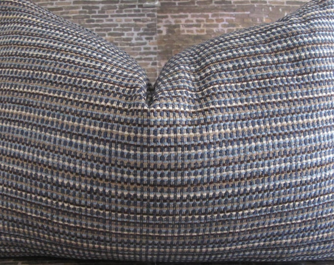 Designer Pillow Cover Lumbar, 16 x16, 18 x 18, 20 x 20, 22 x 22 - Tweed Jewel Blue and Brown