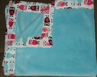Turquoise Cuddle and Owl Minky - Personalized Minky Blanket -  Minky Baby Blanket(Personalization Free)
