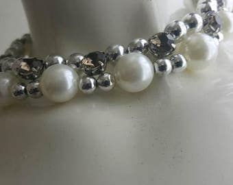 pearl necklace  gray Rhinestone silver  beads 2 rows