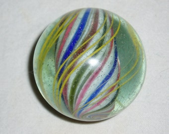 "German Swirl Peppermint Marble, Solid Core, 1-15/16"" 1800's Antique Vintage Toy"