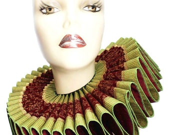 Ruffled Collar Elizabethan Elegance Tall Wide Neck Ruff Victorian Steampunk Edwardian Cranberry Green