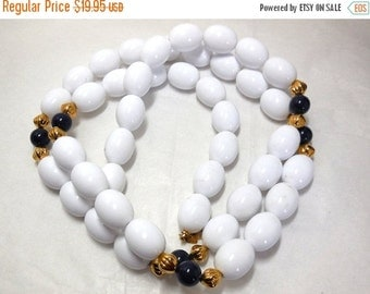 "ON SALE Vintage Beaded MONET Necklace White Navy Gold Classic 38"" Navy Dress, T-neck, Shrug"