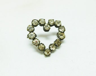 Rhinestone Heart Pin Vintage clear petite Wear anywhere Valentines Mom