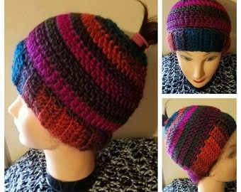 Ready to Ship-- Crochet Messy Bun or Ponytail Hat