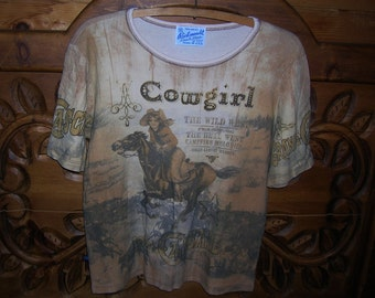 Vintage Rockmount Ranchwear Gypsy Cowgirl T-Shirt, Short Sleeve T-Shirt, Cotton T-Shirt