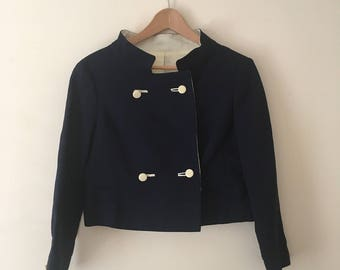1960's Navy blue cropped boxy jacket