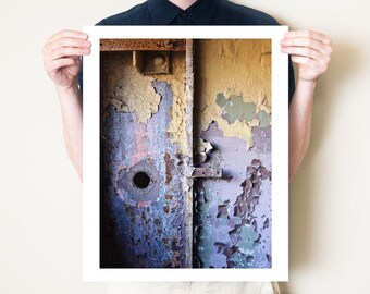 Industrial abstract photography print. Urbex photograph, graphic metallic artwork. Urban exploration fine art photo. Small / large format