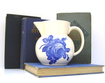 Antique Pitcher Villeroy & Boch Torqau Vintage Floral Blue and White China 1930s Large Stoneware Serving Pitcher Shabby Chic Cottage Kitchen