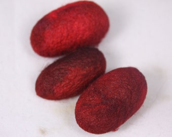 Red burgandy Silk cocoons hand dyed spinning cocoons