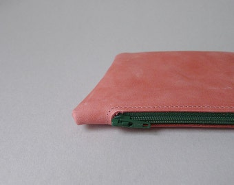 Mini pouch / card holder / coin purse - flamingo pink leather & forest green zipper