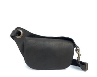 Leather Waist Bag in Black Soft leather. Elegant & Unique. soft Leather  Bum Bag in Black. Perfect for Traveling and the city