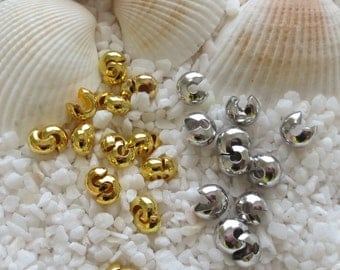 Brass Crimp Bead Covers - CHOICE OF Platinum or Gold Plated - 50 or 100 pcs
