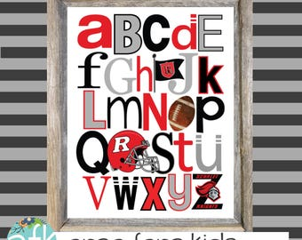 RUTGERS Collegiate Collection ABC Nursery Art Print