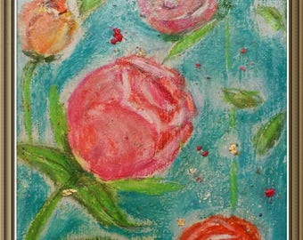 Roses For Her . Roses Art Interior Decor . Intuitive Original  Abstract Painting. Mother's Day Gift .