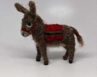 Brown Donkey   Burro    Nativity  wool needle felted