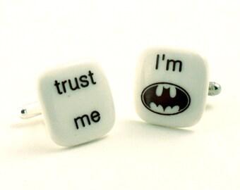 Trust Me Cufflinks Porcelain I Am Batman Superhero Bruce Wayne Movie Gift Present Comic Mismatched Funny Handmade White Brown Humor Fun