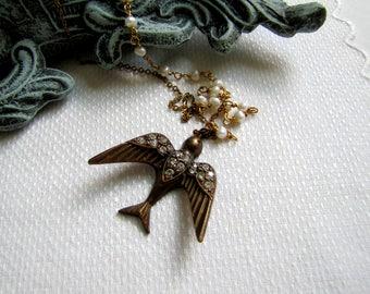 Art Deco Flying Bird Necklace Bird Jewelry Art Deco Jewelry Pearl Necklace Rhinestone Bird Rhinestone Necklace 1920's jewelry Flapper