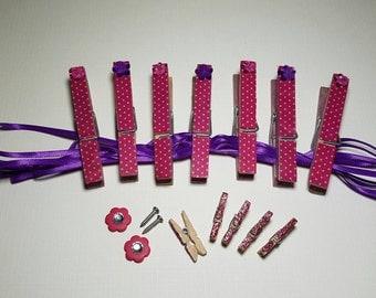 Pink Dotted Washi Tape, acrylic gem Clothespin hanging organizer line. Photo Displays. Post a Note. Washi Tape. Satin Ribbon.