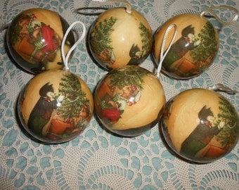 Vintage decoupage Christmas ornaments Vintage cat decoupage ornaments cat Christmas ornaments Victorian cats Old world charm cottage chic