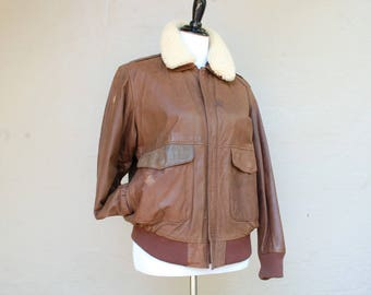 Vintage Womens Medium Large Aeropostale Compagnie Generale Leather Biker Jacket Flight Pilot Bomber Aviator Racer Full Zip Warm Coat