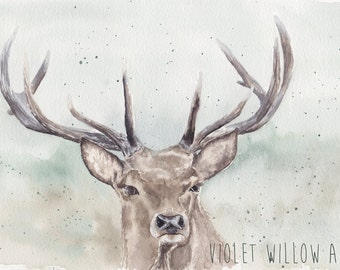 Stag watercolour fien art print giclee print 7 x 10 inches nature animals wall art wall decor home decor contemporary
