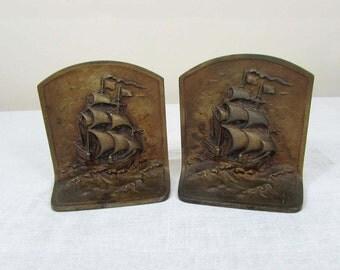 Cast Iron Ship Bookends - Bronze finish Sailing Ship - Nautical - heavy bookends - c 40s
