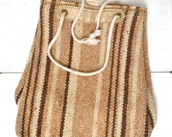 Flash Sale 25% Off Striped Wool Tote Bag 1970s Beige Tan Hippie Boho Vintage Woven Drawstring Shoulder Bag