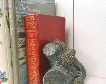 15% OFF Woodland Bookends 1980s Painted Ceramic Pine Cone and Wood Log Vintage Book End Set