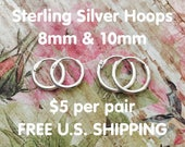 5 dollars per pair plus FREE U.S. SHIPPING! 8mm and 10mm Sterling Silver lever stay put mini hoop earrings for babies to adults