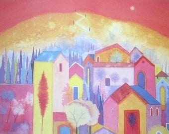 Ancient Hill - Tuscany - Contemporary Art Poster Print from an Original Watercolour Rare Hand Signed in Pencil by artist Giuliana Lazzerini